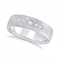 Mens Five-Stone Diamond Wedding Band 18k White Gold (0.25ct)