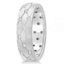 Diamond Zig Zag Wedding Ring Wide Band 14k White Gold 7mm (0.45ct)