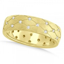 Diamond Zig Zag Wedding Ring Wide Band 14k Yellow Gold 7mm (0.45ct)
