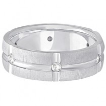 Mens Groove Diamond Wedding Ring Band 14k White Gold (0.30ct)|escape