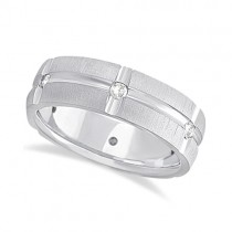 Mens Groove Diamond Wedding Ring Band 18k White Gold (0.30ct)