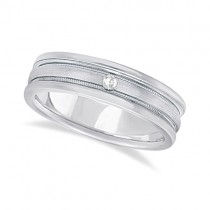 Mens Engraved Diamond Solitaire Wedding Band 14k White Gold (0.05ct)