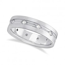 Mens Milgrain Engraved Diamond Wedding Band Ring 18k White Gold (0.50ct)