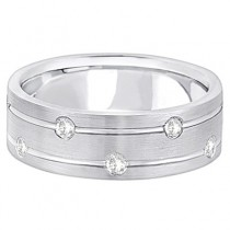Mens Wide Band Diamond Wedding Ring w/ Grooves 14k White Gold (0.40ct)|escape