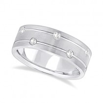 Mens Wide Band Diamond Wedding Ring w/ Grooves 18k White Gold (0.40ct)