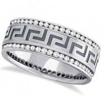 Channel-Set Diamond Wedding Ring Band For Men 14k White Gold (1.50ct)