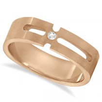 Contemporary Solitaire Diamond Ring For Men 14kt Rose Gold (0.05ct)