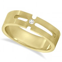 Contemporary Solitaire Diamond Band For Men 14kt Yellow Gold (0.05ct)
