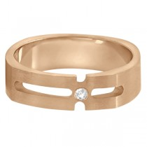 Contemporary Solitaire Diamond Band For Men 18kt Rose Gold (0.05ct)