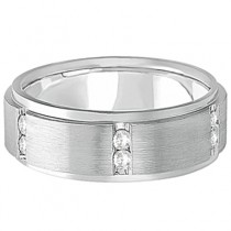 Mens Channel Set Wide Band Diamond Wedding Ring 14k White Gold (0.50ct)|escape