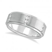 Mens Channel Set Wide Band Diamond Wedding Ring Palladium (0.50ct)