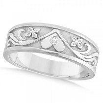 Diamond Heart Flower Wedding Ring Band 14k White Gold 7mm (0.03ct)