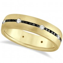 Black & White Diamond Wedding Ring Men's Band 14k Yellow Gold (0.70ct)