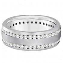 Channel-Set Diamond Wedding Ring Band For Men 14k White Gold (1.75ct)