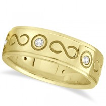 Diamond Infinity Swirl Wedding Band in 14k Yellow Gold 7mm (0.18ct)