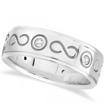 Diamond Infinity Swirl Wedding Band in 18k White Gold 7mm (0.18ct)