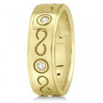 Diamond Infinity Swirl Wedding Band in 18k Yellow Gold 7mm (0.18ct)