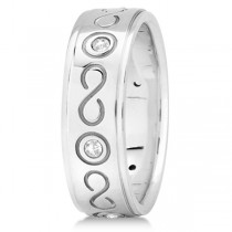 Diamond Infinity Swirl Wedding Band in Platinum 7mm (0.18ct)