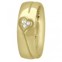 Diamond Accented Heart Design Wedding Band 18k Yellow Gold (0.045ct)