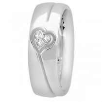 Diamond Accented Heart Design Wedding Band Platinum (0.045ct)