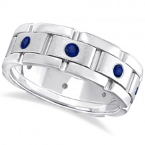 Men's Blue Sapphire Wedding Ring Wide Band 18k White Gold (0.80ct)
