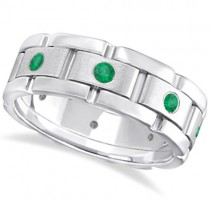 Men's Emerald Wedding Ring Wide Eternity Band 14k White Gold (0.80ct)