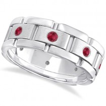 Men's Ruby Wedding Ring Wide Eternity Band 14k White Gold (0.80ct)