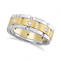 Mens Wide Band Diamond Eternity Wedding Ring 14kt Two-Tone Gold (0.40ct)