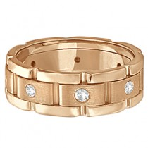 Mens Wide Band Diamond Eternity Wedding Ring 18kt Rose Gold (0.40ct)|escape