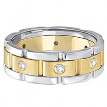 Mens Wide Band Diamond Eternity Wedding Ring 18kt Two-Tone Gold (0.40ct)