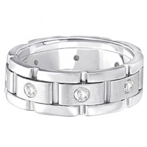 Mens Wide Band Diamond Eternity Wedding Ring 18kt White Gold (0.40ct)|escape