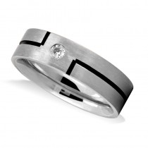 Burnished & Satin Diamond Mens Wedding Band Ring 14K White Gold (0.08 ct)