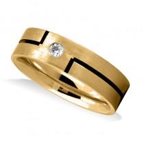 Burnished & Satin Diamond Mens Wedding Band Ring 14K Yellow Gold (0.08 ct)