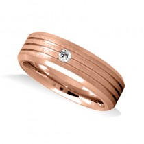 Burnished Diamond Mens Wedding Band Ring 14K Rose Gold (0.08 ct)