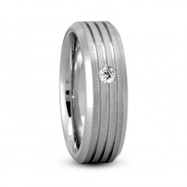 Burnished Diamond Mens Wedding Band Ring 14K White Gold (0.08 ct)