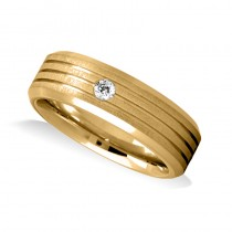 Burnished Diamond Mens Wedding Band Ring 14K Yellow Gold (0.08 ct)