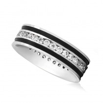 Channel Set Diamond Mens Wedding Band Ring 14K White Gold (0.99 ct)