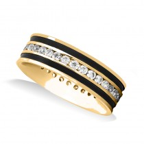 Channel Set Diamond Mens Wedding Band Ring 14K Yellow Gold (0.99 ct)