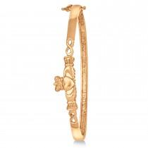 Claddagh Hinged Stackable Bangle Bracelet 14k Rose Gold