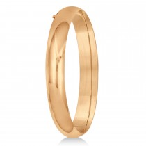 High Polished Hinged Stackable Wide Bangle Bracelet 14k Rose Gold