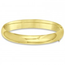 High Polished Hinged Stackable Wide Bangle Bracelet 14k Yellow Gold