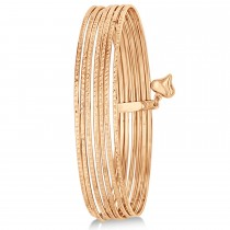 Diamond-Cut Slip-On Seven Bangle Bracelets 14k Rose Gold