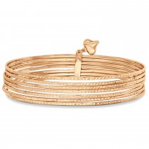 Diamond-Cut Slip-On Seven Bangle Bracelets 14k Rose Gold|escape