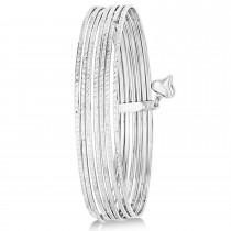 Diamond-Cut Slip-On Seven Bangle Bracelets 14k White Gold