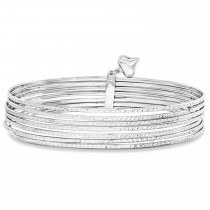 Diamond-Cut Slip-On Seven Bangle Bracelets 14k White Gold