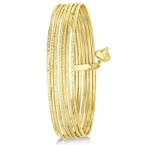 Diamond-Cut Slip-On Seven Bangle Bracelets 14k Yellow Gold
