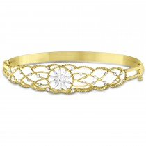 Diamond-Cut Starburst Bangle Bracelet 14k Two Tone Gold