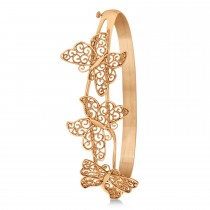 Butterfly Bangle Bracelet Plain Metal 14k Rose Gold