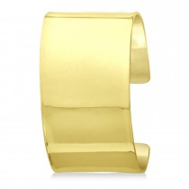 High Polish Wide Cuff Bangle Bracelet 14k Yellow Gold 37mm