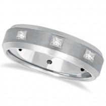 Princess-Cut Diamond Ring Wedding Band For Men 14k White Gold (0.50ct)